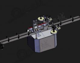 圆柱瓶子产品贴标机3D模型