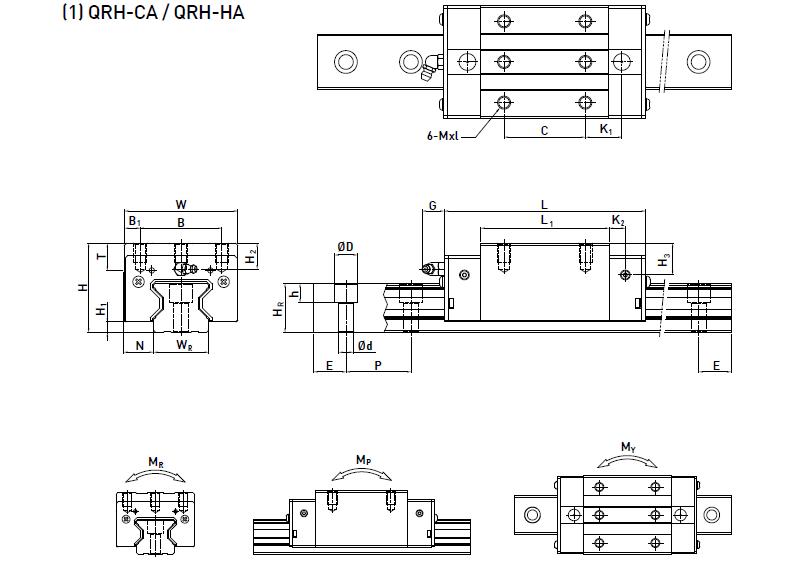 HIWIN上银滚柱直线导轨QRW35CC-静音型QR35