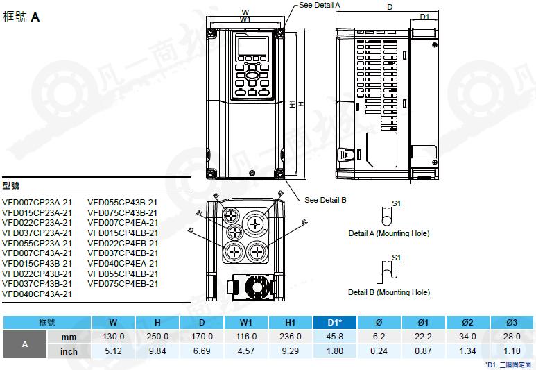 delta台达变频器vfd-cp2000系列vfd022cp43b-21