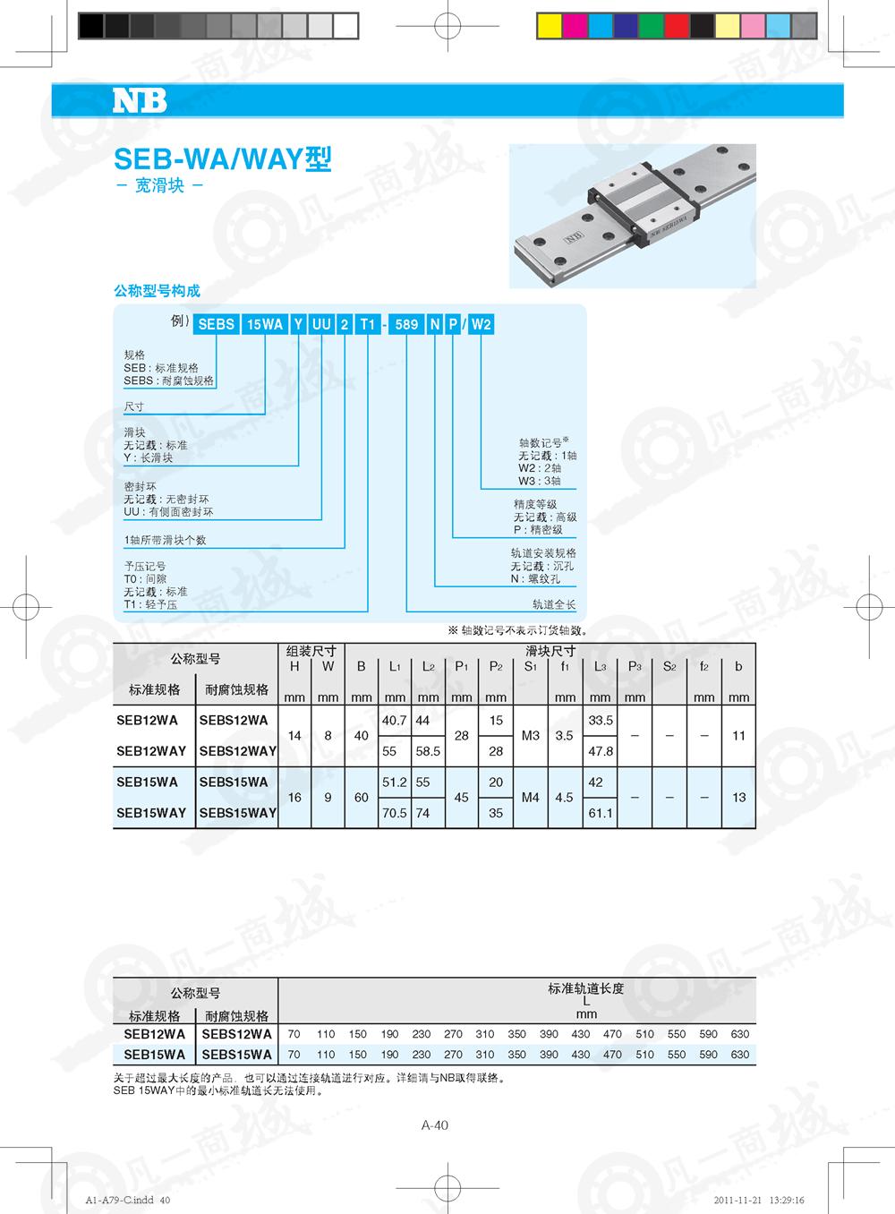 宽轨道型-NB微型直线导轨SEB9WAY_SEB9WD